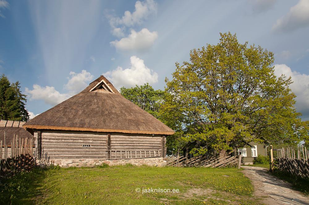 Old Blockhouse Thatch Roof in Tammsaare Museum, Järva County, Estonia