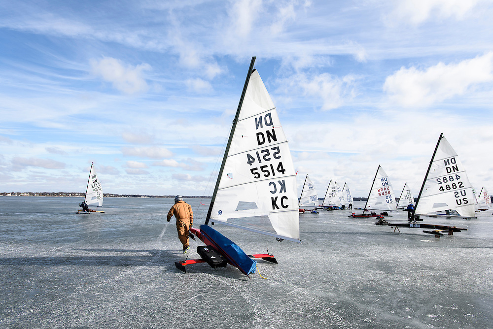 Participants prepare their iceboats for competition in the North American Championship DN Ice Sailing Regatta on frozen Lake Monona in Madison, Wis., during winter on Feb. 25, 2016. (Photo by Jeff Miller, www.jeffmillerphotography.com)