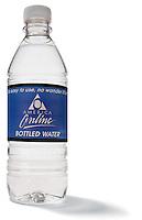 Bottled water on white background