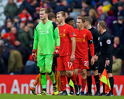 LIVERPOOL, ENGLAND - Saturday, January 28, 2017: Liverpool's goalkeeper Loris Karius looks dejected after losing 2-1 to Wolverhampton Wanderers during the FA Cup 4th Round match at Anfield. (Pic by David Rawcliffe/Propaganda)
