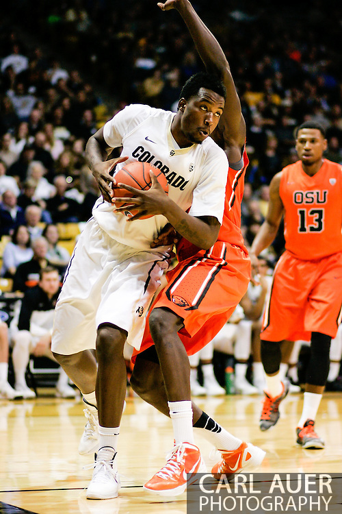 January 2nd, 2014:  Colorado Buffaloes redshirt freshman forward Wesley Gordon (1) makes a move towards the basket in the second half of action in the NCAA Basketball game between the Oregon State Beavers and the University of Colorado Buffaloes at the Coors Events Center in Boulder, Colorado