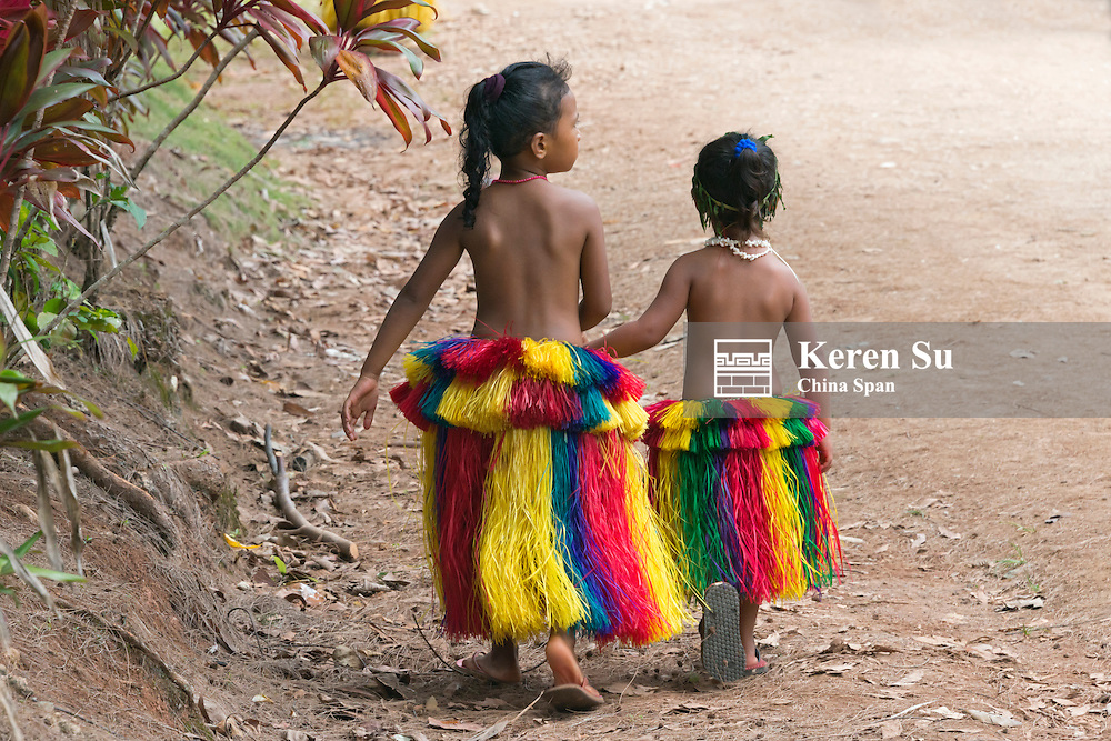 Yapese girls in traditional clothing, Yap Island, Federated States of Micronesia