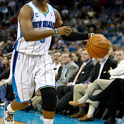 January 24,  2011; New Orleans, LA, USA; New Orleans Hornets point guard Chris Paul (3) against the Oklahoma City Thunder during the second half at the New Orleans Arena. The Hornets defeated the Thunder 91-89. Mandatory Credit: Derick E. Hingle