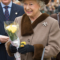 Windsor Berkshire February 29th Her Majesty Queen Elizabeth II accompanied by  the Duke of Edinburgh opens and visit the new King Edwards Court shopping area