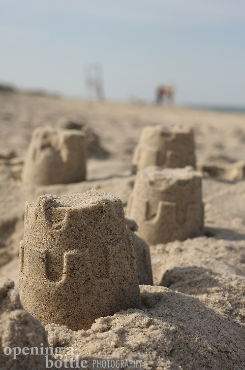 A few turrets from a sand castle, Nauset Beach, Cape Cod National Seashore, Orleans, Massachusetts.