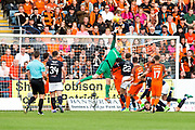 Dundee United goalkeeper Harry Lewis (#25) leaps above a crowd of players to tip a cross over the bar during the Betfred Scottish Cup match between Dundee and Dundee United at Dens Park, Dundee, Scotland on 9 August 2017. Photo by Craig Doyle.