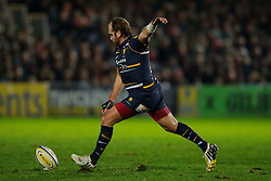 Worcester Fly-Half (#10) Andy Goode kicks a Penalty during the first half of the match - Photo mandatory by-line: Rogan Thomson/JMP - Tel: Mobile: 07966 386802 04/01/2012 - SPORT - RUGBY - Sixways - Worcester. Worcester Warriors v Leicester Tigers - Aviva Premiership.