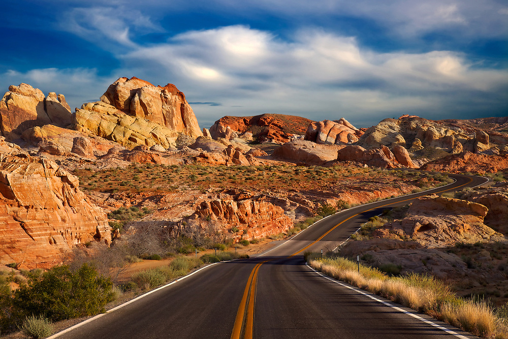 The area around Rainbow Vista in Valley of Fire State Park is one of the most colorful places on earth. The 200 million-year-old petrified sand dunes and rocks sculpted by water, wind and time appear in hues from yellow, red, orange, white, brown, pink, and mauve to purple.