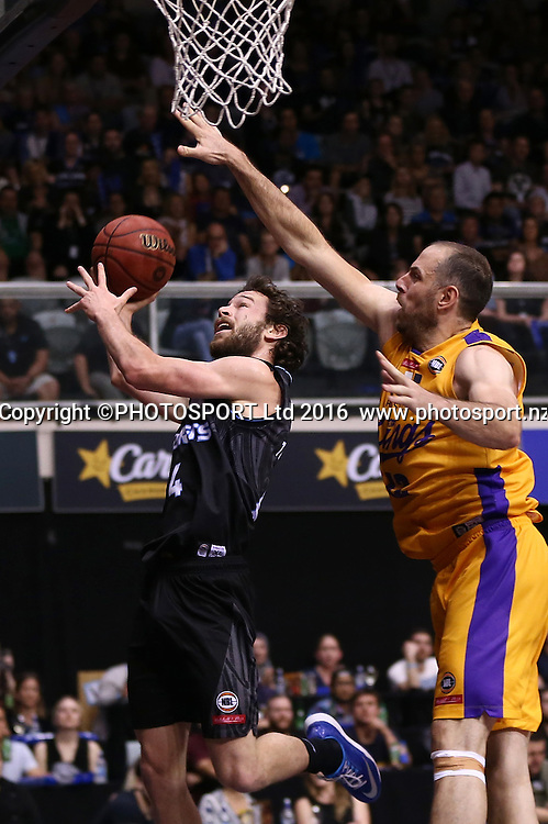 Breakers` Isiah Tueta is challenged by Kings` Aleks Maric in the Round 3 ANBL Basketball Match, New Zealand Breakers v Sydney Kings, North Shore Events Centre, Auckland, New Zealand, Thursday, October 20, 2016. Copyright photo: David Rowland / www.photosport.nz