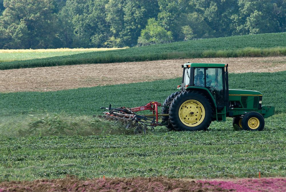 Tedding Hay at USDA BARC