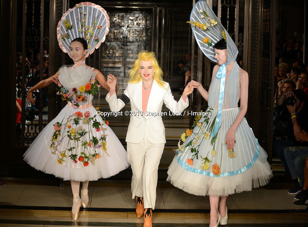 Designer Pam Hogg at the end of her show at London Fashion Week Spring/Summer 2014, Tuesday, 17th September 2013. Picture by Stephen Lock / i-Images