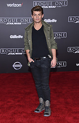 Celebrities walk the red carpet for the 'Rogue One: A Star Wars Story' world premiere held at the Pantages Theatre in Hollywood. 10 Dec 2016 Pictured: Garrett Clayton. Photo credit: American Foto Features / MEGA TheMegaAgency.com +1 888 505 6342