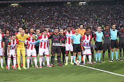 Players of both teams during football match between NK Crvena Zvezda Beograd and Arsenal FC in Group H of UEFA Europa League 2017/18, on October 19, 2017 in Stadion Rajko Mitic, Belgrade, Serbia. Photo by Marko Metlas / Sportida