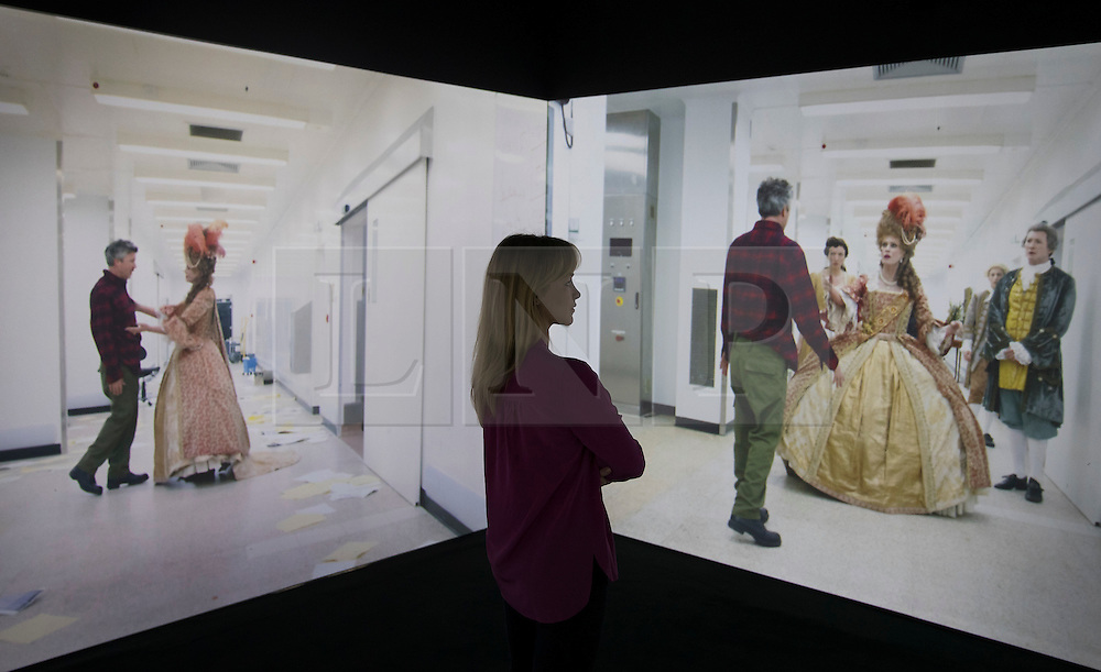 © Licensed to London News Pictures. The Corridor, 2016 - a multi-screen projection starring Joanna Lumley and Aidan Gillen is shown at the exhibition Daydreaming with Stanley Kubrick in partnership with Canon at Somerset House in London. The show opens on July 6, 2016 and runs until August 24, 2016.  The exhibition features 50 works inspired by the legendary film director from a host of contemporary artists, musicians and filmmakers. London, UK.   Photo credit: Peter Macdiarmid/LNP