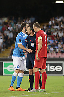 Gonzalo Higuain Napoli, Arbitro Istvan Vad referee, Timmy Simons Brugge, <br /> Napoli 17-09-2015 Stadio San Paolo <br /> Football Calcio UEFA Europa League <br /> Fase a gironi Gruppo D, Group stage Group D. Napoli - Brugge.<br /> Foto Cesare Purini / Insidefoto