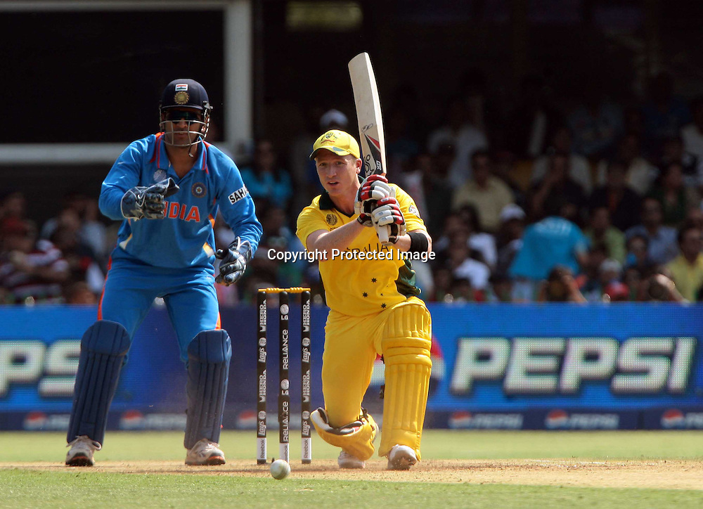 haddin plays a shot, action ICC Cricket World cup 2011, 2nd Quarter final match between India and Australia on 24th March 2011, at Motara Cricket Stadium in Ahemdabad