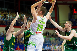 Gezim Morina of Slovenia during basketball match between National teams of Slovenia and Lithuania in First Round of U20 Men European Championship Slovenia 2012, on July 14, 2012 in Domzale, Slovenia. Slovenia defeated Lithuania 87-81. (Photo by Vid Ponikvar / Sportida.com)