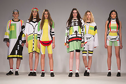 © Licensed to London News Pictures. 31/05/2014. London, England. Collection by Chloe Siddall from UCLAN, University of Central Lancashire. Graduate Fashion Week 2014, Runway Show at the Old Truman Brewery in London, United Kingdom. Photo credit: Bettina Strenske/LNP