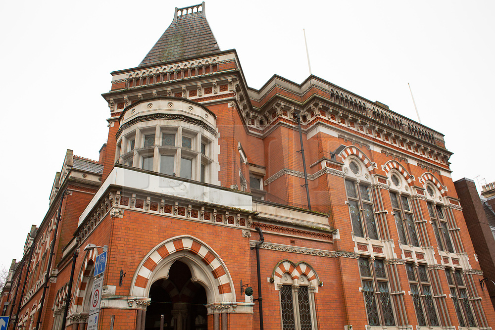 © Licensed to London News Pictures. 11/04/2018. Leicester, UK. Unseen original drawings and paintings of Leicester's most famous landmarks by eminent Victorian architect Joseph Goddard are to be displayed in public for the first time in history on 11 April 2018, to mark his 172th birthday. Pictured, the exterior of the bank in Granby Street, that Joseph Goddard designed and now houses the exhibition. The exhibition will take in the iconic former bank building, currently owned by ISKCON, at 31 Granby Street.<br /> Joseph Goddard designed some of Leicester's most famous landmarks, including the Clock Tower, the Thomas Cook offices, and 31 Granby Street, the impressive former Midland bank building. Hundreds of bound books were donated to ISKCON in 2017 by the great grandsons of Goddard and now the exhibition will feature samples of original drawings and designs by the architect.  Photo credit: Dave Warren/LNP