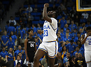 Nov 6, 2019; Los Angeles, CA, USA; UCLA Bruins guard Prince Ali (23) celebrates in the second half against Long Beach State at Pauley Pavilion. UCLA defeated Long Beach State 69-65.