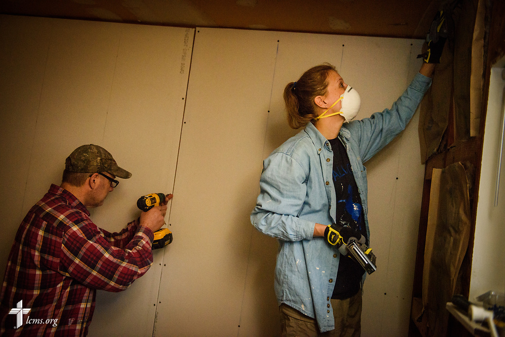 Volunteers from Saint Paul Lutheran Church, Mount Prospect, Ill., including Bill Makuch and Denise Perdziak, help rebuild a home damaged by Hurricane Harvey on Wednesday, Feb. 7, 2018, in Port Arthur, Texas.  LCMS Communications/Erik M. Lunsford