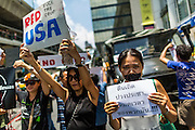 25 MAY 2014 - BANGKOK, THAILAND: Thai protestors opposed to the military junta at a demonstration in Bangkok. Public opposition to the military coup in Thailand grew Sunday with thousands of protestors gathering at locations throughout Bangkok to call for a return of civilian rule and end to the military junta.     PHOTO BY JACK KURTZ