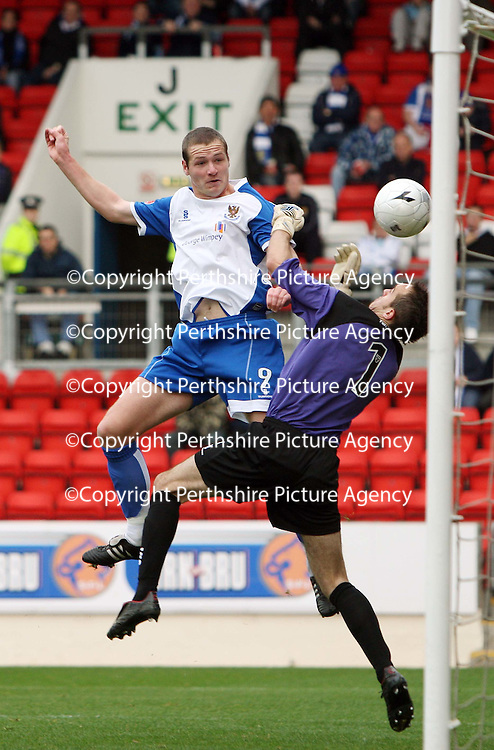 St Johnstone v Queen of the South....20.10.07<br /> Kenny Deuchar heads the ball beyond Jamie McDonald to open the scoring<br /> Picture by Graeme Hart.<br /> Copyright Perthshire Picture Agency<br /> Tel: 01738 623350  Mobile: 07990 594431