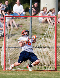 Virginia Cavaliers G Adam Ghitelman (8) makes a save against Cornell.  The #1 ranked Virginia Cavaliers defeated the #4 ranked Cornell Big Red 14-10 at Klockner Stadium on the Grounds of the University of Virginia in Charlottesville, VA on March 8, 2009.