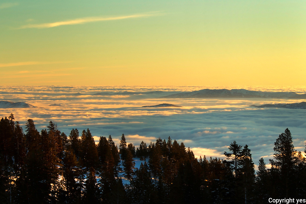 Sunrise over a fogged in Washoe Valley, NV from Mount Rose