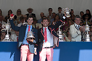"Henley on Thames, United Kingdom, 8th July 2018, Sunday, View,  ""Fifth day"", of the annual,  ""Henley Royal Regatta"", Henley Reach, River Thames, Thames Valley, England, © Peter SPURRIER, Prize Giving, The Double Sculls Challenge Cup - 2018<br />