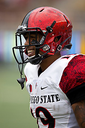 BERKELEY, CA - SEPTEMBER 12:  Running back Donnel Pumphrey #19 of the San Diego State Aztecs stands on the sidelines during the first quarter against the California Golden Bears at California Memorial Stadium on September 12, 2015 in Berkeley, California. The California Golden Bears defeated the San Diego State Aztecs 35-7. (Photo by Jason O. Watson/Getty Images) *** Local Caption *** Donnel Pumphrey