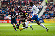 Kilmarnock FC Midfielder Tope Obadeyi on the attack during the Ladbrokes Scottish Premiership match between Heart of Midlothian and Kilmarnock at Tynecastle Stadium, Gorgie, Scotland on 3 October 2015. Photo by Craig McAllister.