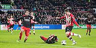 EINDHOVEN, PSV - Excelsior, voetbal, Eredivisie, seizoen 2016-2017, 14-01-2017, Philips Stadion, PSV speler Marco van Ginkel (2R) scoort de 1-0, Excelsior speler Jurgen Mattheij (2L).