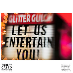 Neon sign reading 'Glitter Gulch - Let Us Entertain You' at Fremont Street, Las Vegas, Nevada, USA.<br />