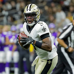 Aug 9, 2019; New Orleans, LA, USA; New Orleans Saints quarterback Teddy Bridgewater (5) looks to throw against the Minnesota Vikings during the second quarter at the Mercedes-Benz Superdome. Mandatory Credit: Derick E. Hingle-USA TODAY Sports
