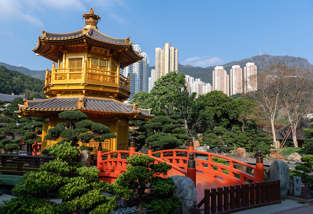 The Golden Pavilion Of Absolute Perfection, Nan Lian Garden in Chi Lin Nunnery, Kowloon, Hong Kong, China.