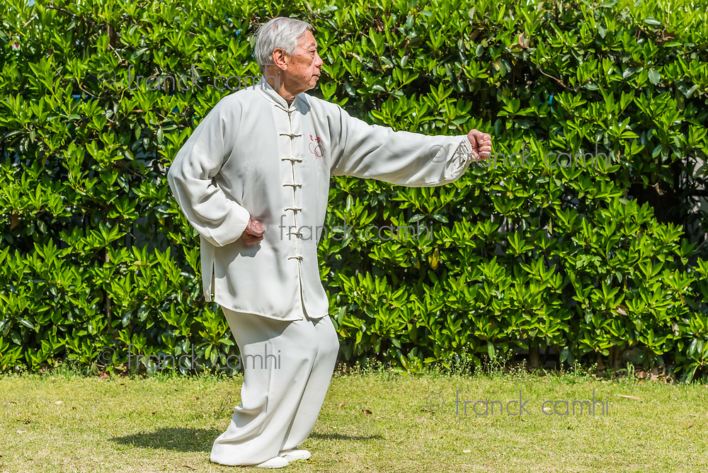 Shanghai, China - April 7, 2013: one old man exercising kung fu in fuxing park at the city of Shanghai in China on april 7th, 2013