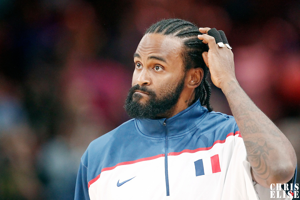 15 July 2012: Ronny Turiaf of Team France warms up prior to a pre-Olympic exhibition game won 75-70 by Spain over France, at the Palais Omnisports de Paris Bercy, in Paris, France.