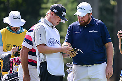 August 9, 2018 - Town And Country, Missouri, U.S - SHANE LOWRY from Ireland jokes with one of the caddies during round one of the 100th PGA Championship on Thursday, August 8, 2018, held at Bellerive Country Club in Town and Country, MO (Photo credit Richard Ulreich / ZUMA Press) (Credit Image: © Richard Ulreich via ZUMA Wire)