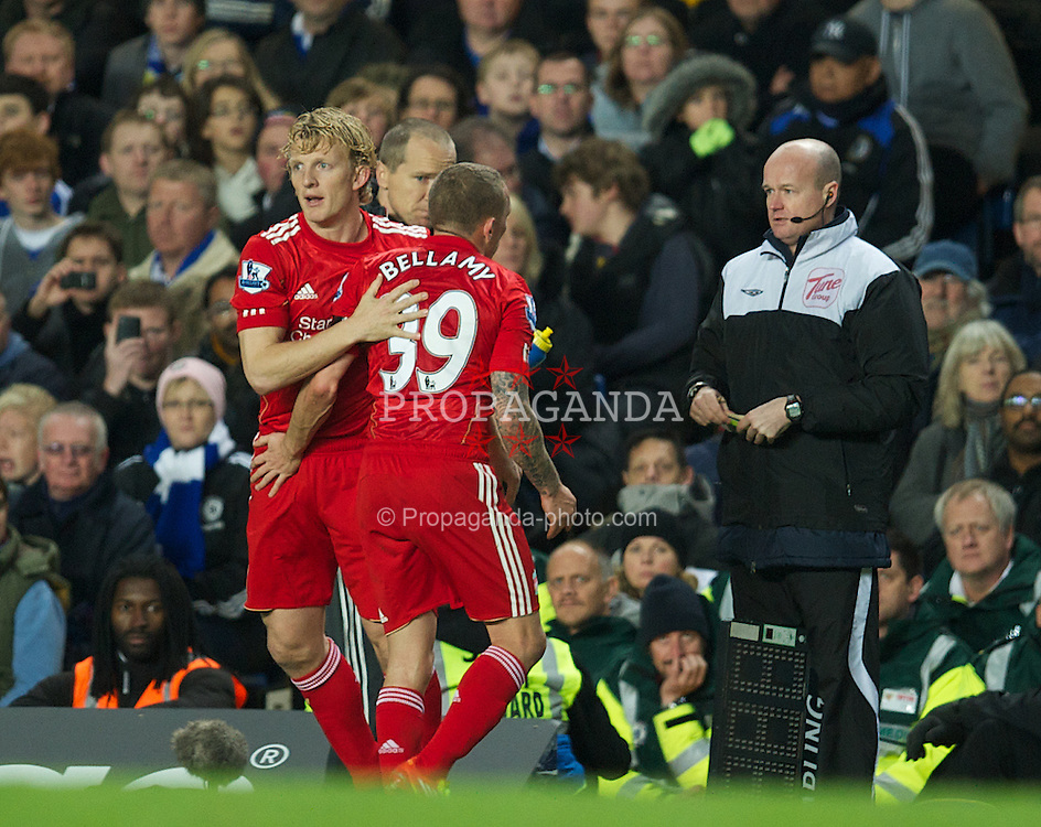 LONDON, ENGLAND - Tuesday, November 29, 2011: Liverpool's Craig Bellamy is substituted for Dirk Kuyt against Chelsea during the Football League Cup Quarter-Final match at Stamford Bridge. (Pic by David Rawcliffe/Propaganda)
