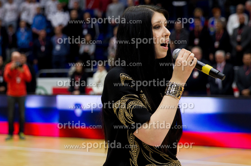 Eva Boto singing national anthem during basketball match between KK Union Olimpija and KK Helios Domzale in Final of Spar Cup  2013 on February 10, 2013 in Arena Golovec, Celje, Slovenia. Union Olimpija defeated Helios Domzale 73 - 61 and became Slovenian Cup Champion 2013. (Photo By Vid Ponikvar / Sportida)