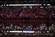 FAYETTEVILLE, AR - DECEMBER 30:  Fans of the Arkansas Razorbacks light up the arena with the cell phones before a game against the Tennessee Volunteers at Bud Walton Arena on December 30, 2017 in Fayetteville, Arkansas. The Razorbacks defeated the Volunteers 95-93.  (Photo by Wesley Hitt/Getty Images) *** Local Caption ***