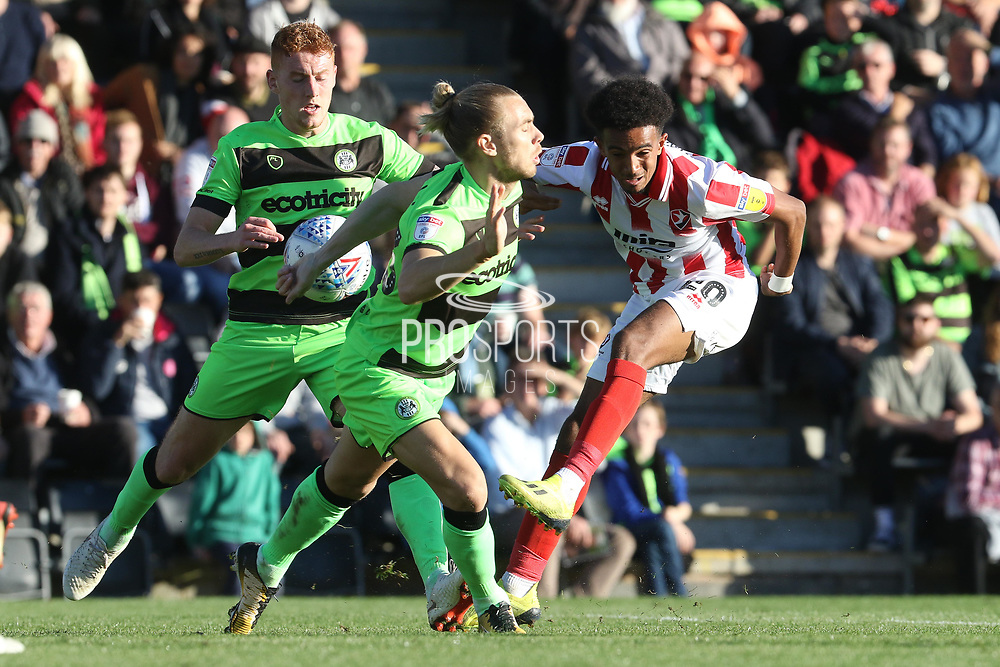 Matt Worthington, Joseph Mills and Jacob Maddox during the EFL Sky Bet League 2 match between Forest Green Rovers and Cheltenham Town at the New Lawn, Forest Green, United Kingdom on 20 October 2018.