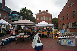 Open air market with tents in front of Town Hall, Salem, Massachusetts, United States of America