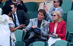 LONDON, ENGLAND - Thursday, July 12, 2018: Singer Cliff Richard in the Royal Box during the Ladies' Singles Semi-Final match on day ten of the Wimbledon Lawn Tennis Championships at the All England Lawn Tennis and Croquet Club. (Pic by Kirsten Holst/Propaganda)