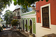 Historic traditional homes along Calle Hospital Old San Juan, Puerto Rico.