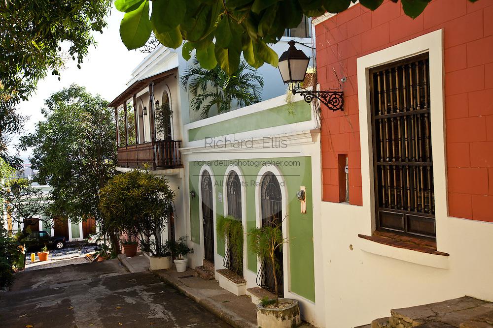 Historic traditional homes along Calle Hospital Old San Juan, Puerto Rico.
