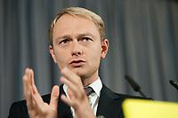11 OCT 2010, BERLIN/GERMANY:<br /> Christian Lindner, FDP Generalsekretaer, waehrend einer Pressekonferenz, Thomas-Dehler-Haus<br /> IMAGE: 20101011-01-023