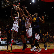 09 December 2017:  The San Diego State men's basketball team hosts the California Golden Bears Saturday afternoon. San Diego State Aztecs forward Jalen McDaniels (5) and Jordan Schakel battle two Cal players for a rebound in the first half. The Aztecs trail 39-34 at halftime.<br /> www.sdsuaztecphotos.com