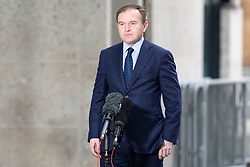 © Licensed to London News Pictures. 23/02/2020. London, UK. Secretary of State for Environment, Food and Rural Affairs George Eustice speaks to the media as he arrives at the BBC. Later he will appear on the Andrew Marr Show. Photo credit: George Cracknell Wright/LNP